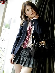 Shy newhalf Kaoru Shirashi is dressed as a horny schoolgirl who is in no mood to go to class today!