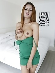 23yo busty Thai shemale does a striptease for white tourist