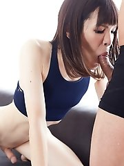 Skinny japanese shemale Yui Kawai - Hard Cock and Blow Job